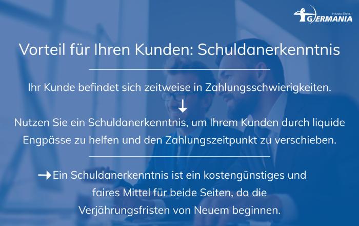 Schuldanerkenntnis_Vorteile   Germania Inkasso