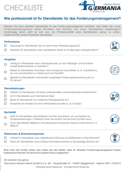 Checkliste Forderungsmanagement | Germania Inkasso
