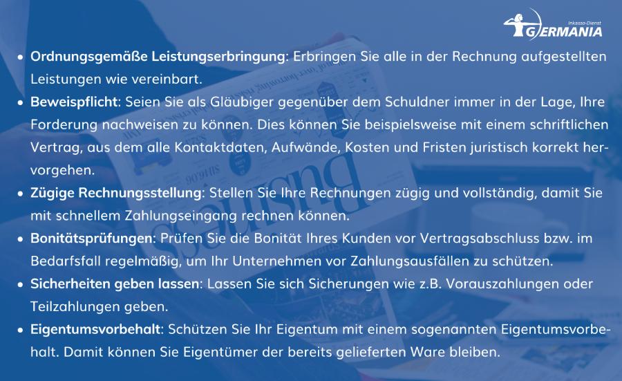 Absicherung Gläubiger   Germania Inkasso