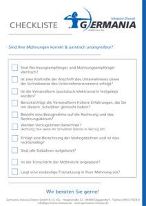 Checkliste Mahnungen | Germania Inkasso